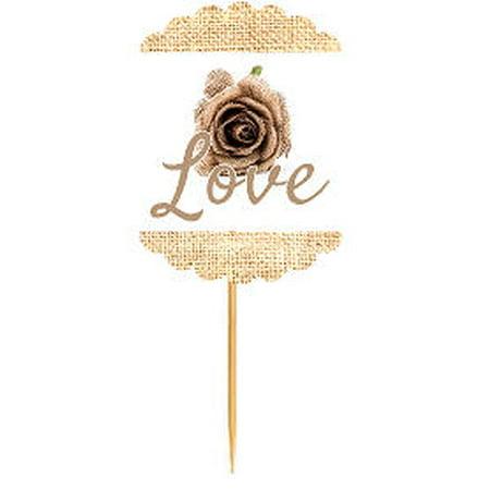Love Burlap Rose  Rustic Burlap Wedding Cupcake Decoration Topper Food Picks](Rose Cupcakes)