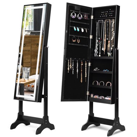 Touch Screen LED Light Mirrored Jewelry Cabinet Armoire ...