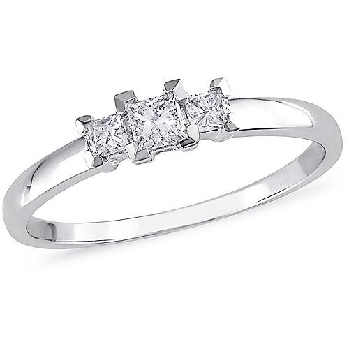 Miabella 1/4 Carat T.W. Princess-Cut Three-Stone Diamond Engagement Ring in 10kt White Gold