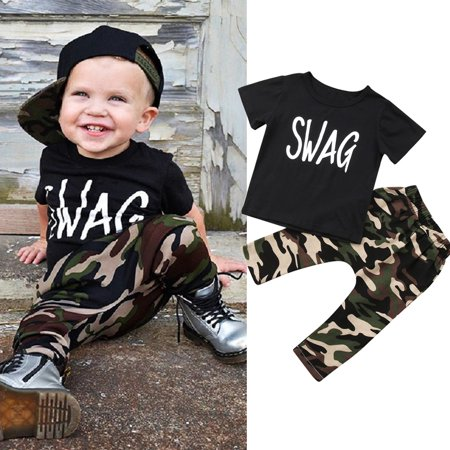1d607d99a0a8d Toddler Kids Baby Boys Tops Black T-shirt Tops+Camo Pants 2Pcs Outfit Set  Clothes 3-4 Years