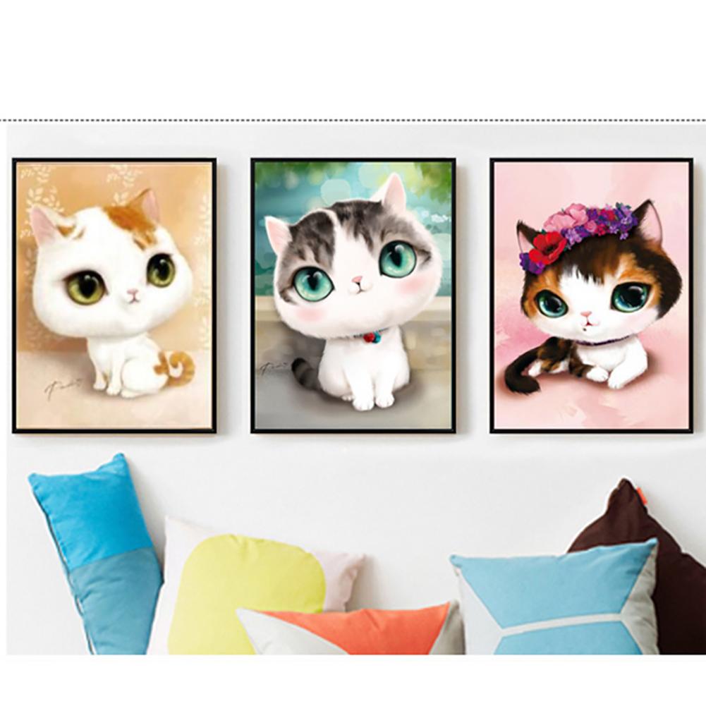 5d Diy Cartoon Cat Pattern Diamond Painting Embroidery Patterns Wall