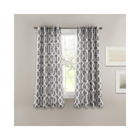 Edward Trellis Room Darkening Window Curtain Set Grey
