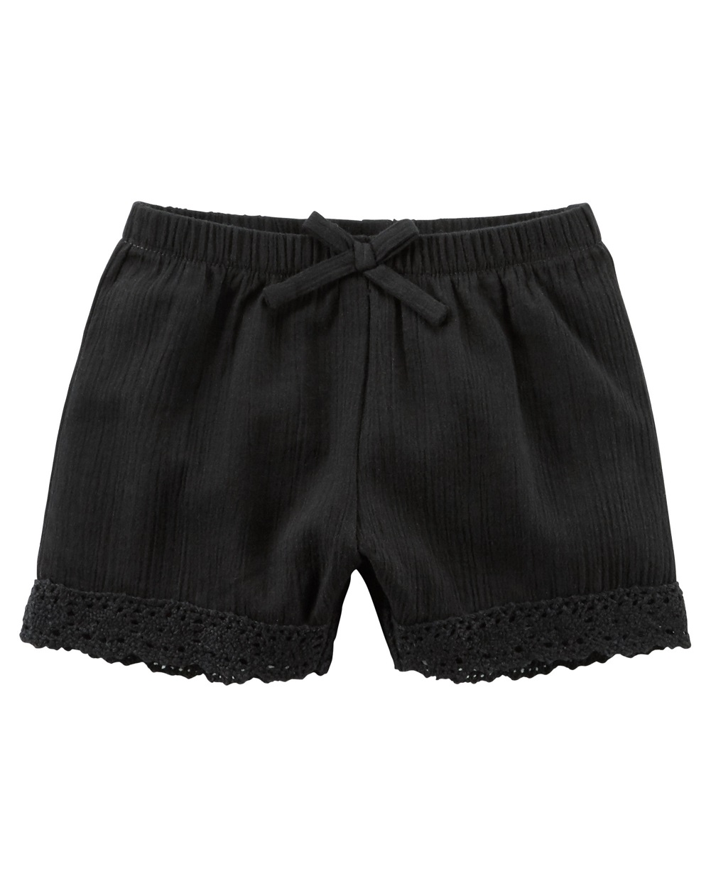 Carter's Baby Girls' Lace-Trim Crinkle Shorts, Black, 18 Months