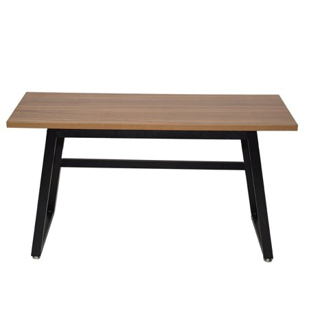 LANBOWO Rustic Wood Computer Desk Vintage Industrial Home Office Desk with Heavy-Duty Metal Base Works As Writing Desk Study Table ()