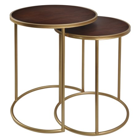 Bryan Keith Mahogany Bay - Nesting Metal Tables - Gold Finish with Matte Wood Top - 2 Piece -