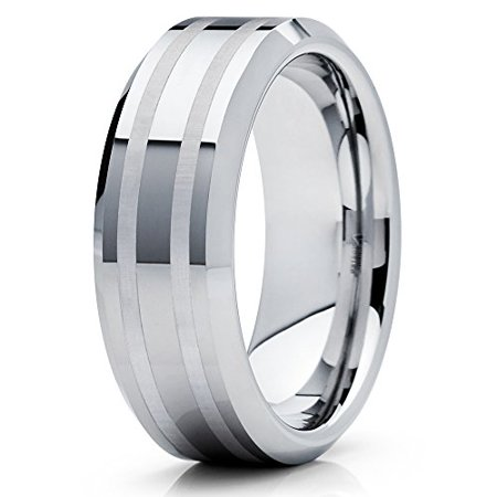 289a3201ec12e 8mm Polished Silver Tungsten Carbide Wedding Band Matte Double Groove  Beveled Edge Unisex Ring 5.5
