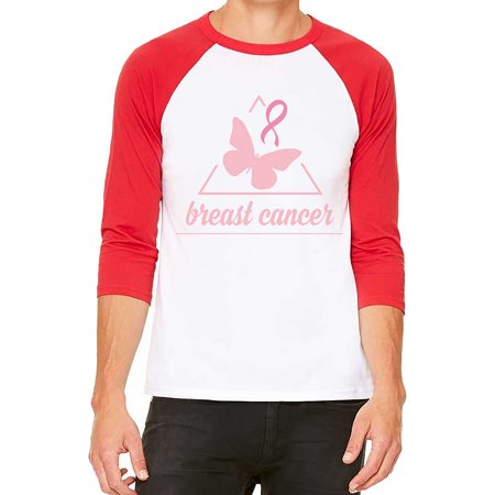 Unisex Breast Cancer Butterfly Triangle B1033 White C5 3/4 Sleeve Baseball T-Shirt Small