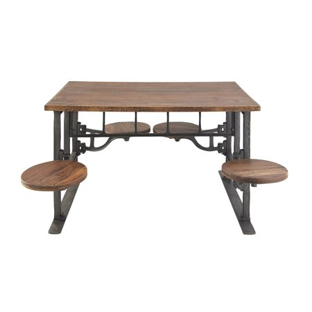 Decmode Rustic 31 X 51 Inch Wood And Iron Dining Table With 4 Built In Stools