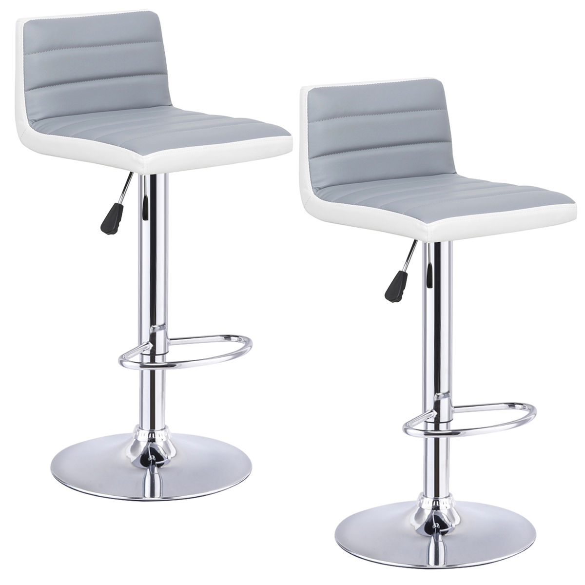 Costway Set of 2 Bar Stools Adjustable Bar Stool PU Leather Swivel Pub Chairs Armless by Costway