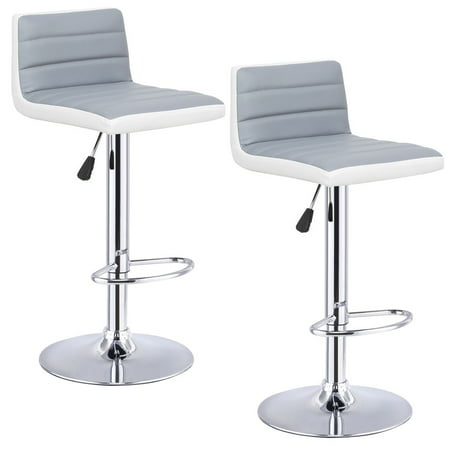 - Goplus Set of 2 Adjustable Swivel Armless PU Leather Bar Stools Pub Chairs