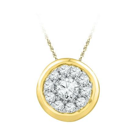 10kt Yellow Gold Womens Round Diamond Cluster Pendant 1/4 Cttw