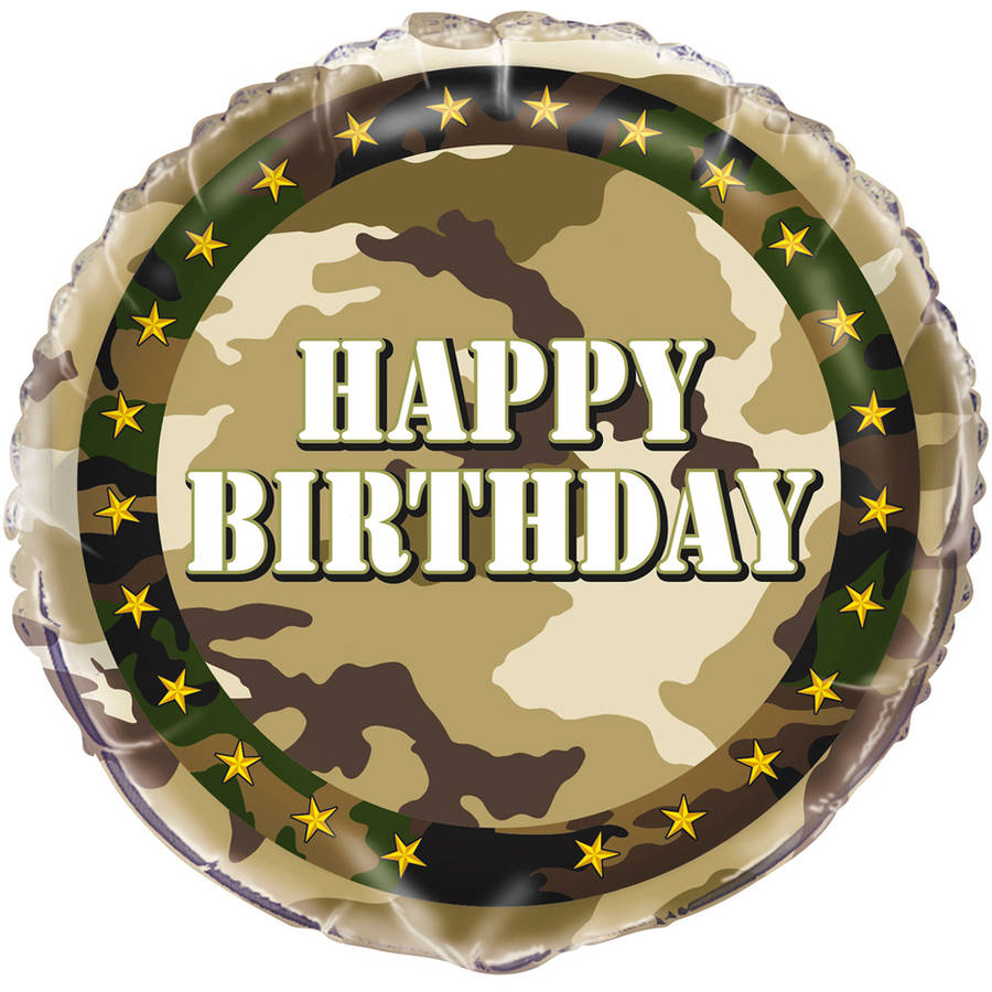 "18"" Foil Military Camo Happy Birthday Balloon"