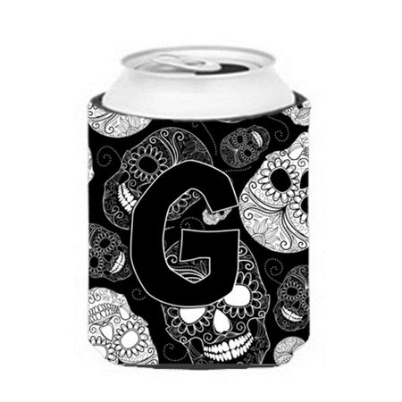 Carolines Treasures CJ2008-GCC Letter G Day Of The Dead Skulls Black Can & Bottle Hugger - image 1 de 1