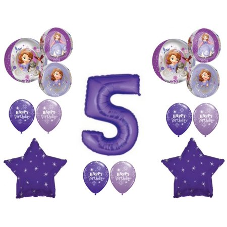 Sophia The First Party Supplies (Awesome! SOFIA THE FIRST 5th Birthday party Balloons Decoration Supplies)
