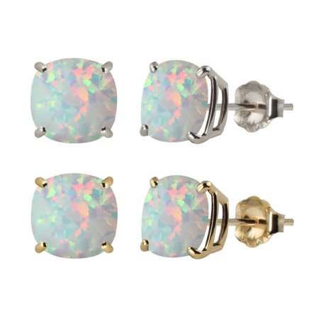 Gold Diamond Created Opal Earrings - 10k White or Yellow Gold 6mm Checkerboard Cushion Lab-created Opal Stud Earrings