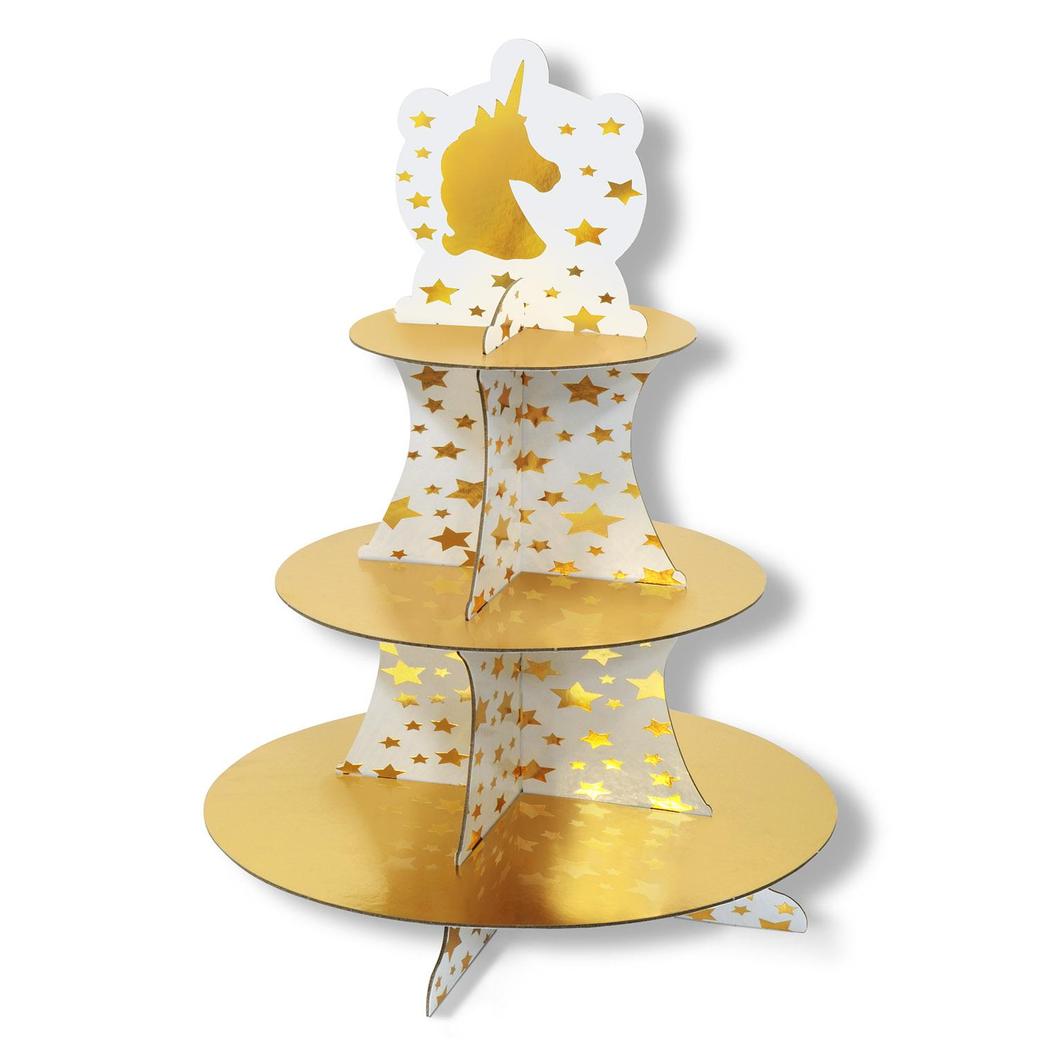 Club Pack of 12 Shiny Gold and White Unicorn and Stars Cupcake Stand 16""