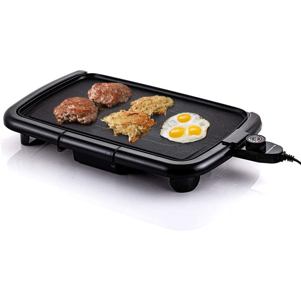Ovente Electric Indoor Kitchen Griddle 16 X 10 Inch Nonstick Flat Cast Iron Grilling Plate 1200 Watt With Temperature Control And Oil Drip Tray Perfect For Cooking Pancake Breakfast Black Gd1610b