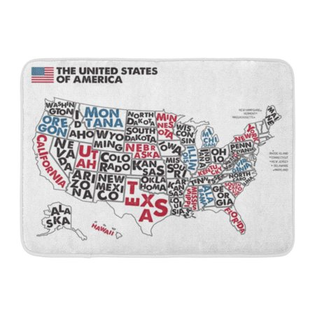 GODPOK American Map of United States America with Names Black Red Blue and White USA Geographic Themes Chicago Rug Doormat Bath Mat 23.6x15.7 inch
