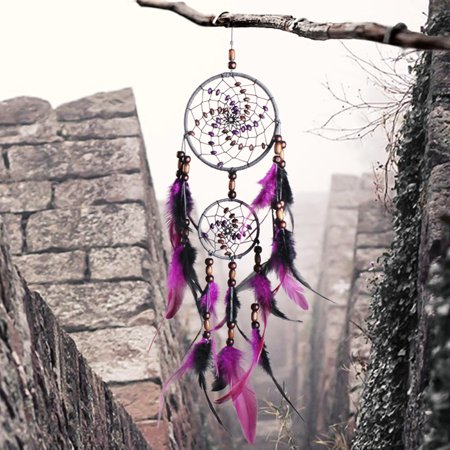 Moaere Large 24'' Length Handmade Dream Catcher with Purple Feathers Car Wall Hanging Decor Ornament - Define Ornaments