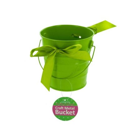 Kole Imports HH321-48 Mini Metal Craft Bucket with Ribbon - Pack of 48 - image 1 of 1