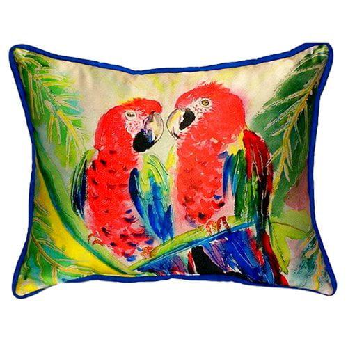 Betsy Drake Interiors Two Parrots Indoor/Outdoor Lumbar Pillow