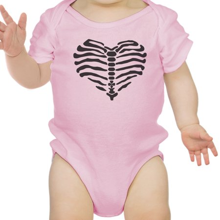 Heart Skeleton Bodysuit Baby Cute Graphic Pink Bodysuit Halloween
