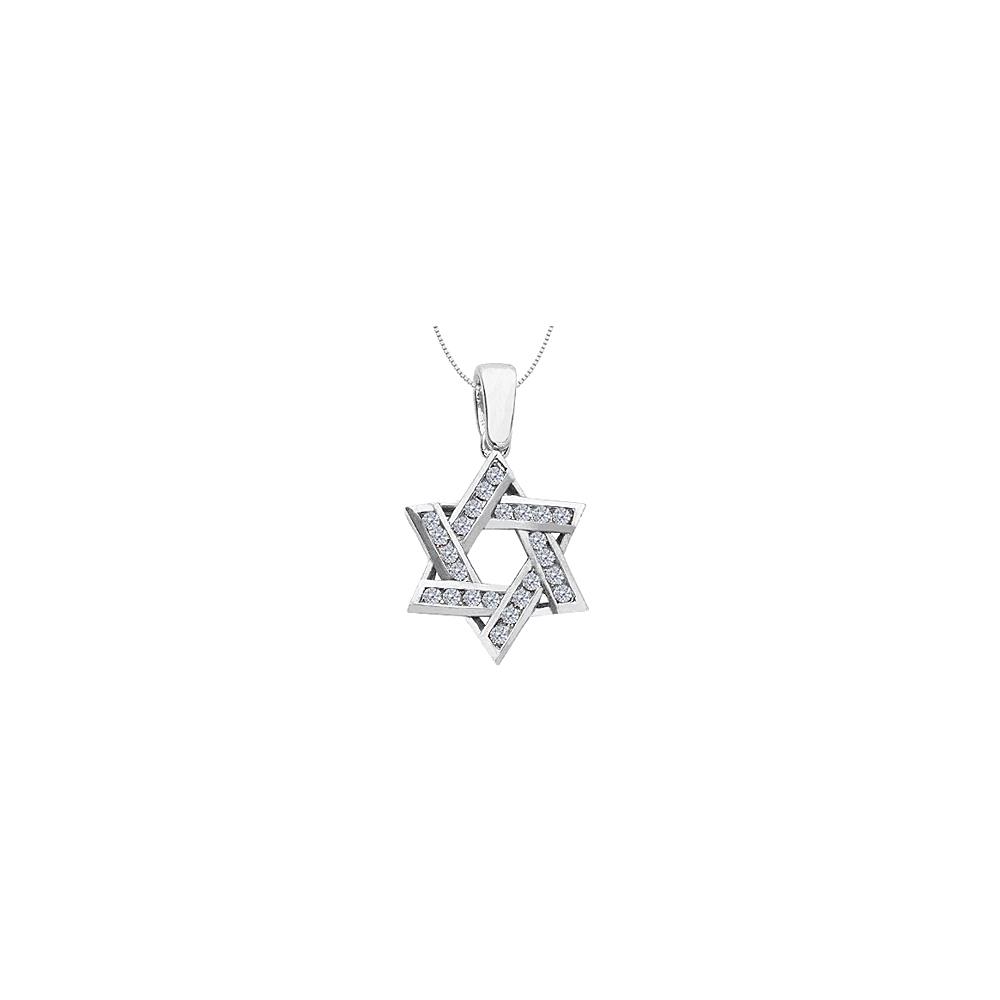 Jewelry Diamond Entwined Star of David Pendant in 14K White Gold 0.60 Carat Diamonds - image 1 de 1