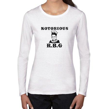 5a4fedf0b Hollywood Thread - Notorious R.B.G - Ruth Bader Ginsburg - Supreme Justice  Women's Long Sleeve T-Shirt - Walmart.com