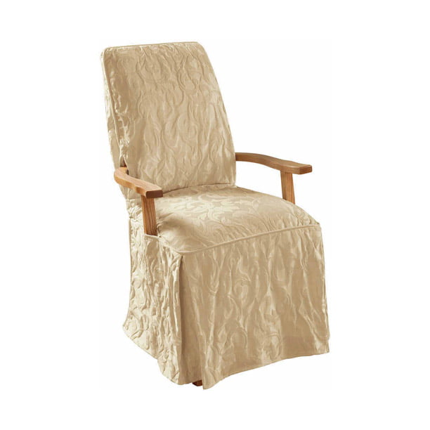 Sure Fit Matelasse Damask Arm Long Dining Chair Slipcover Walmart Com Walmart Com