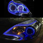 LEONLITE 2-Pack 12 Inch Automobile LED Neon Strip Light, OEM-Looking Audi/BMW/Mercedes Style Headlight, Flexible Daytime Running & Contouring Tube Light, Blue
