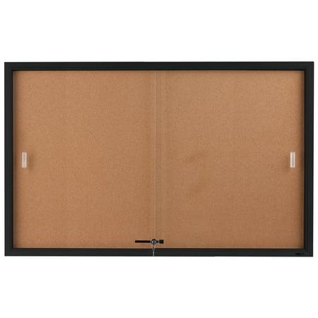 Enclosed Sliding Door Cork Bulletin Board, 5 x 3 Feet, Self-healing Corkboard Display Surface, 60