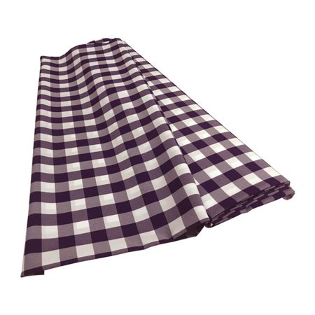 LA Linen CheckBolt-10Yrd-PurpleK23 10 Yards Gingham Checkered Flat Fold, White & - Gingham Linen
