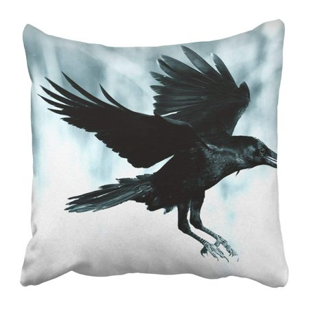 ARTJIA Black Raven Flying in Moonlight Scary Creepy Gothic Setting Cloudy Night Halloween Old Photograph Pillowcase 16x16 inch - Halloween Settings