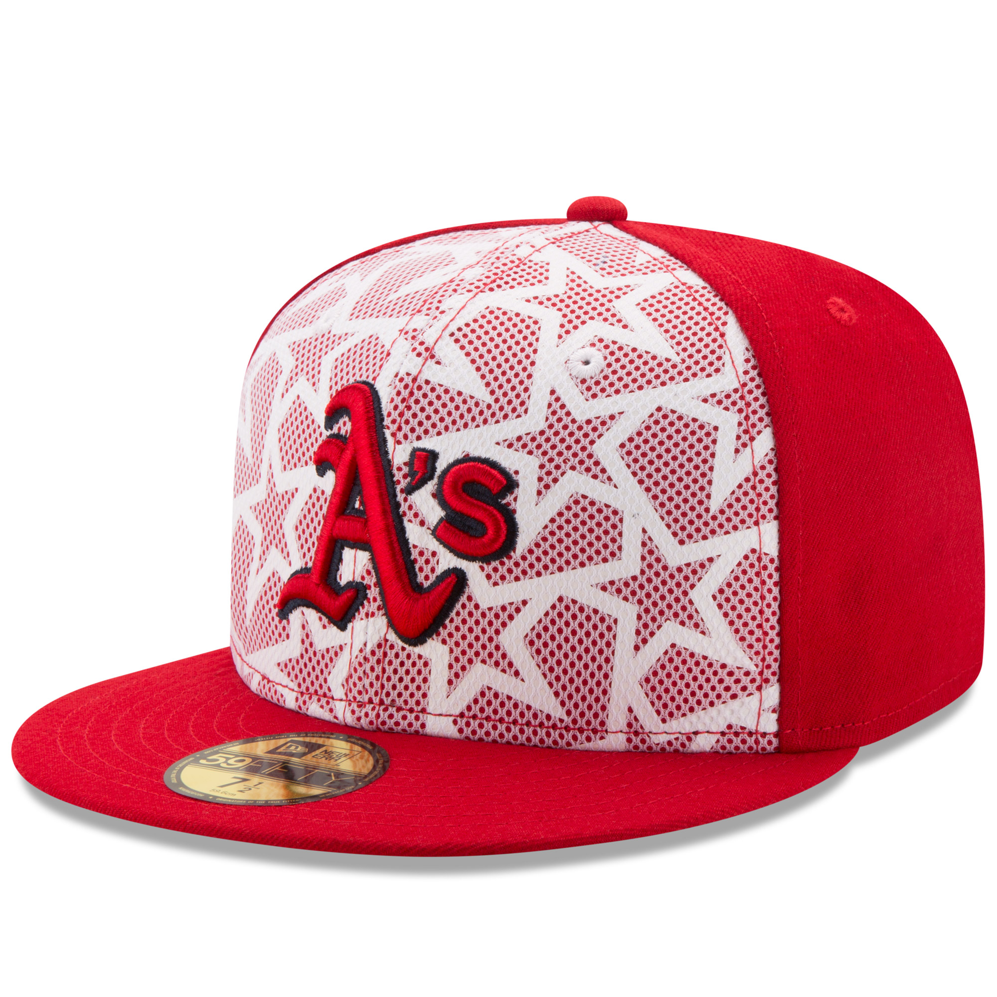 Oakland Athletics New Era Stars & Stripes 59FIFTY Fitted Hat - White/Red
