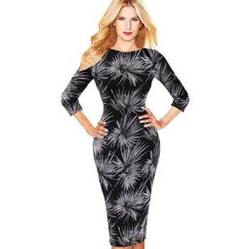 Unomatch Women Firwork Printed Formal Slim Fitted Bodycon Dress