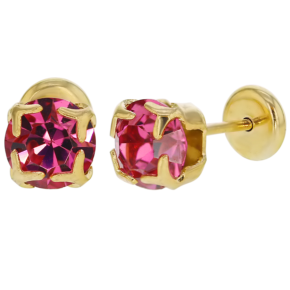14k Gold Plated Square Prong Pink Crystal Baby Girl Toddler Safety