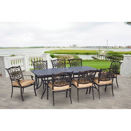 Hanover Traditions 9 Piece Outdoor Dining Set With Extra Long Table