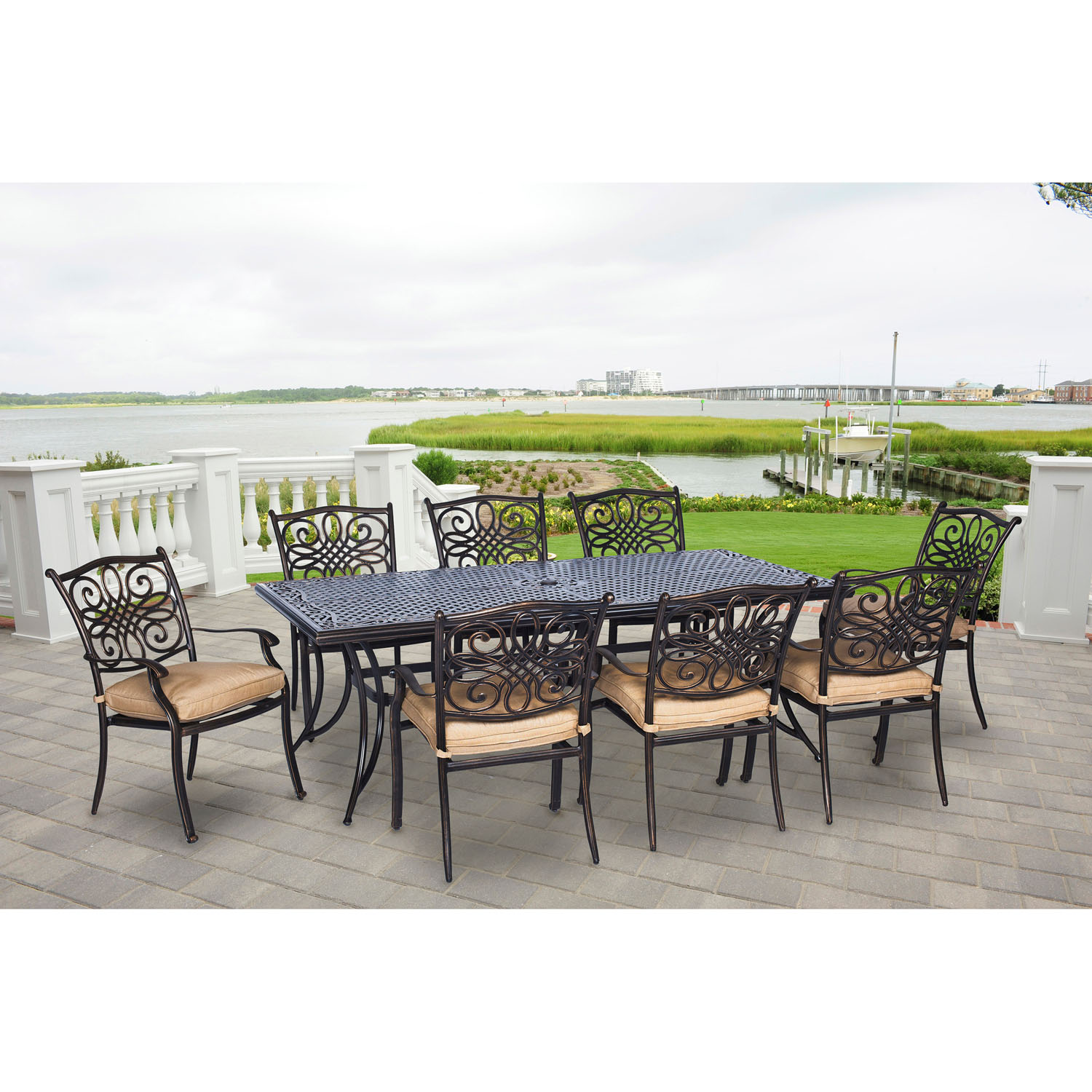 Hanover Traditions 9-Piece Outdoor Dining Set with Extra-Long Table