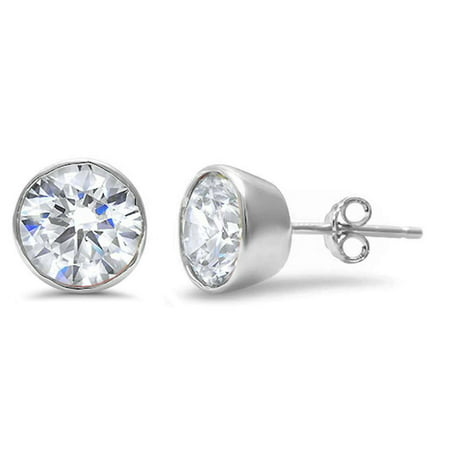 Round Bezel Set Cubic Zirconia 9MM Screw Back Earrings Sterling Silver