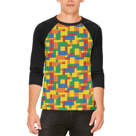 Halloween Building Blocks Costume Mens Raglan T Shirt - Cock Block Costume