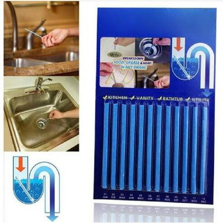 12Pcs Pipeline Drain Sticks Drain Cleaner Sticks Kitchen Sink Sewer Detergent Sticks Cleaning Rod