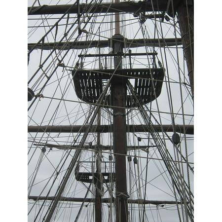 LAMINATED POSTER Sailboat Mast Rope Boat Bridge Halyard Sailing Poster Print 24 x (Ropes Masts And Sails Of A Boat)
