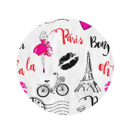 POGLIP 60 inch Round Beach Towel Blanket Bonjour Paris Pattern Original Calligraphic Fonts Sketch Eiffel Tower Travel Circle Circular Towels Mat Tapestry Beach Throw - image 2 of 2