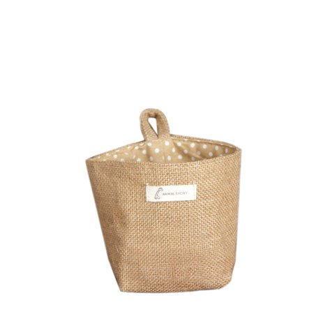 Huppin's Polka Dot Small Storage Sack Cloth Hanging Non Woven Storage Basket BG