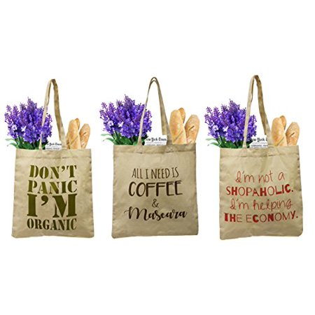 100% Organic Grocery Tote - Earthwise Organic Cotton Reusable Grocery Bag Shopping Totes Canvas w/cute, funny prints