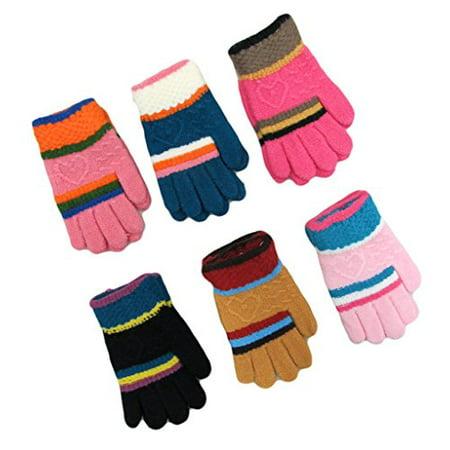- Gilbin Soft and Comfortable Children's Winter Magic Knit Fleece Lined Gloves (Heart)