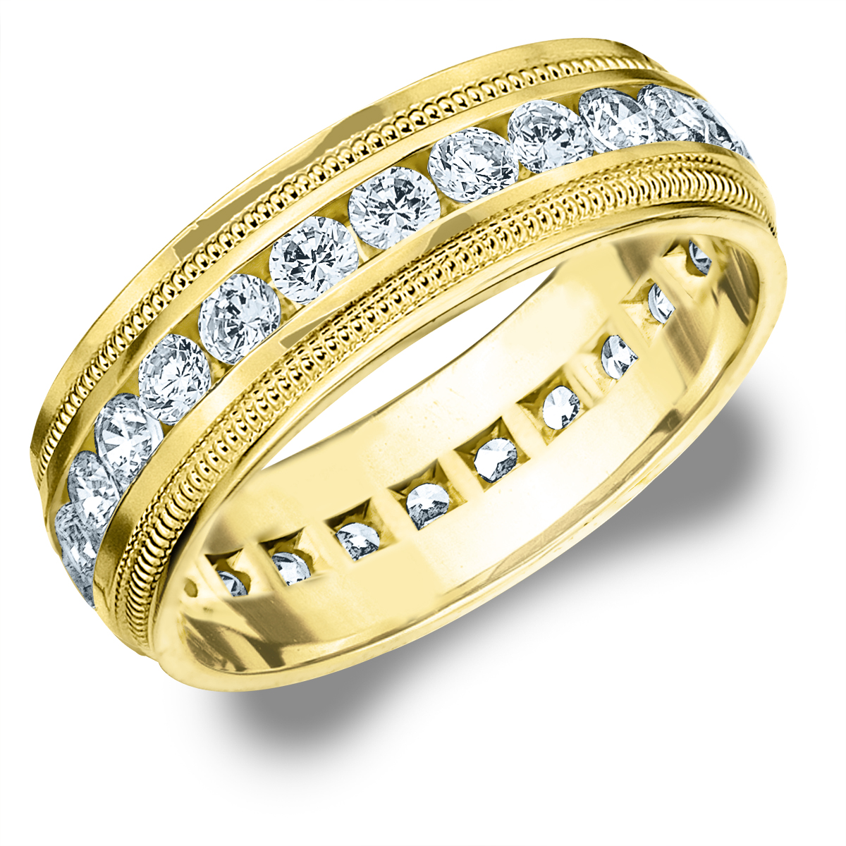 2 CTTW Diamond Men's Wedding Band in 14K Yellow Gold, 2 Carat Diamond Eternity Ring for Him