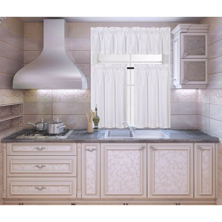 K3 White 3-Piece Blackout Rod Pocket Kitchen Window Curtain Set Darkening Tier Panels Treatment with Matching Valance