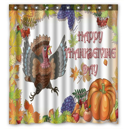 PHFZK Harvest Shower Curtain Happy Thanksgiving Turkey With Pumpkin Polyester Fabric Bathroom 66x72 Inches