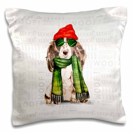 3dRose Cocker Spaniel Lover Christmas Brown and White Funny Animals - Pillow Case, 16 by 16-inch
